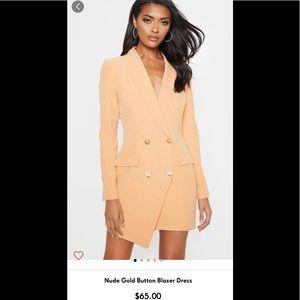 Nude Gold Button Blazer Dress